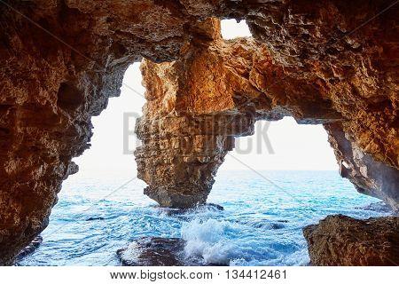 Cala del Moraig beach caves  in Benitatxell of Alicante in Spain