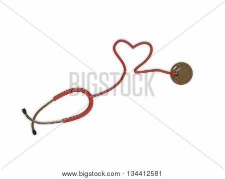 3d illustration of a stethoscope isolated on white background