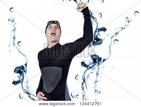 Swimmer posing after victory against water bubbling on white surface