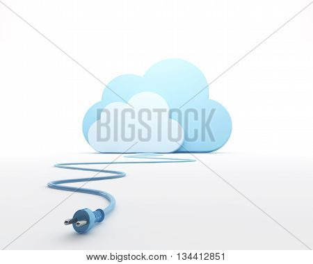 Cloud with a plug. 3d rendered illustration.