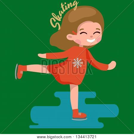 Cute little girl ice skating kids sport on frozen surface vector illustration