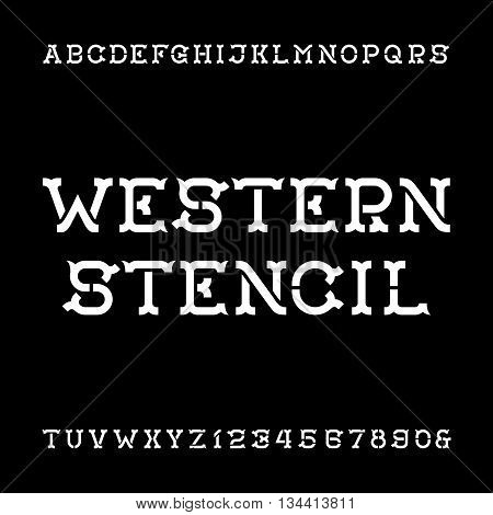 Western stencil alphabet vector font. Vintage type letters and numbers. Vector font for labels, headlines, posters etc.