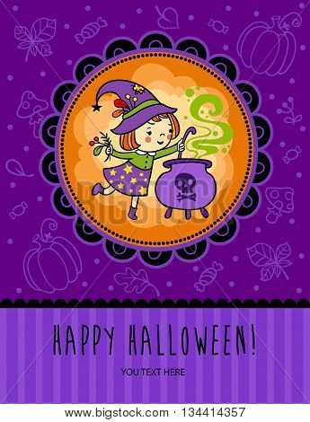 Halloween vector card with funny witch is cooking something poisonous in her cauldron.