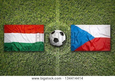 Hungary Vs. Czech Republic Flags On Soccer Field
