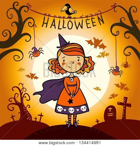 Halloween card with cute little witch. Halloween vector card.