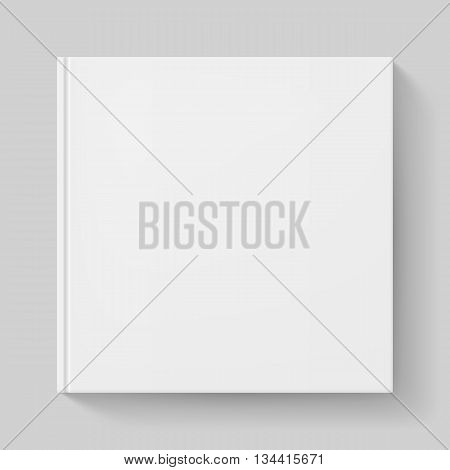 Notebook with white cover. Illustration on gray