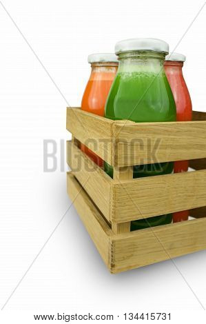 Fresh vegetable juices isolated on white. Carrot, spicy, tomato juice.