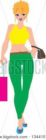 A Cartoon Woman wearing a crop top and capri pants shopping