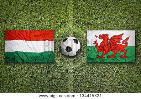 Hungary Vs. Wales Flags On Soccer Field