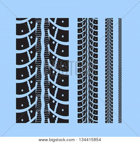 Tire tracks collection with different width. Vector illustration on blue background
