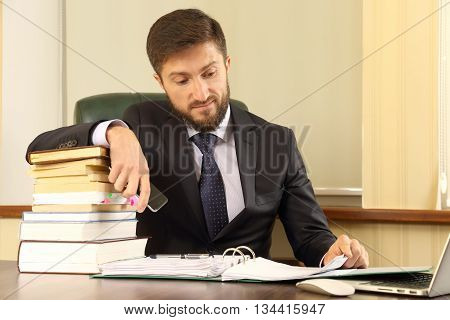 successful business people work with books and documents