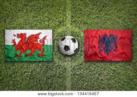 Wales Vs. Albania Flags On Soccer Field