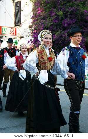 Montenegro, Herceg Novi - 28/05/2016: Members of folklore ensemble