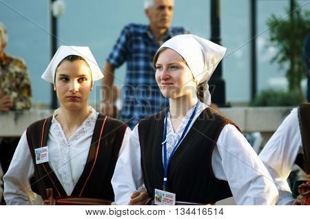 Montenegro, Herceg Novi - 28/05/2016: Girls of the folk ensemble