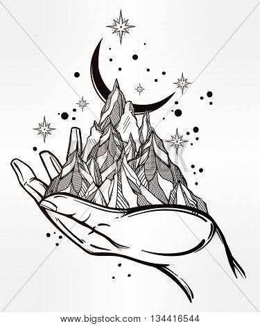Hand drawn mountain range in a hand palm. Tribal template in boho style. Isolated vector illustration. Invitation element. Tattoo, travel, adventure, meditation symbol. The great outdoors.