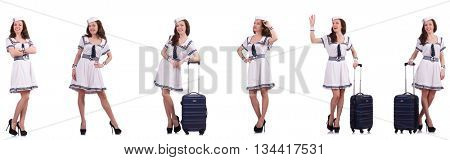 Woman sailor with suitcase isolated on white