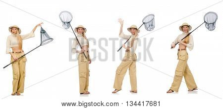 Woman with catching net on white