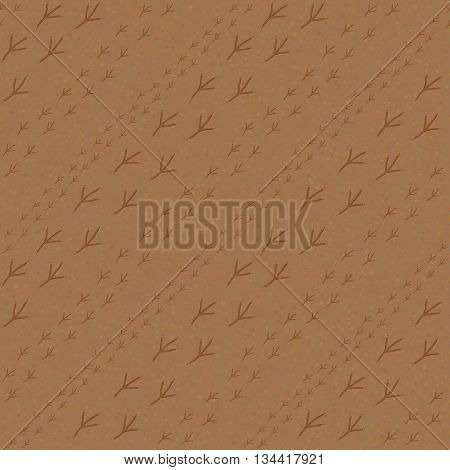 Bird footprints on the sandy background. Seamless pattern. Summertime. Endless texture. Bird footprints backdrop. For decoration, wallpaper, web-page, surface textures. Pattern fills.