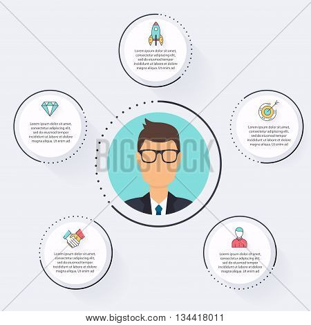 Vector Flat Customer Office Concept - Icons And Infographic Design Elements. Infographic Vector, Inf