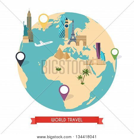 Travel To World. Trip To World. Road Trip. Tourism. Vector Illustration Of Flat Design Travel Compos