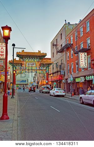 Gate In Chinatown In Philadelphia Pa