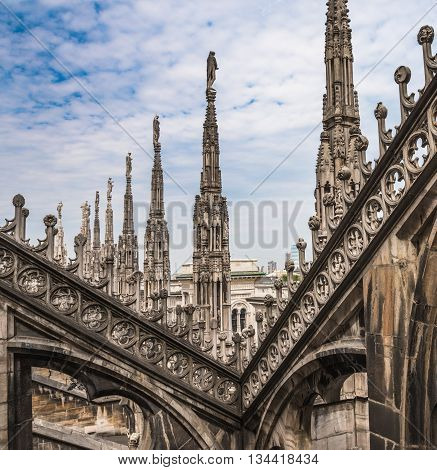 Roof Terraces Of Milan Cathedral, Lombardia, Italy