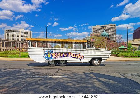 Ride The Ducks Tour Vehicle In The Street Of Philadelphia