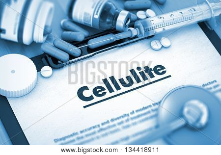 Cellulite, Medical Concept with Pills, Injections and Syringe. Cellulite, Medical Concept with Selective Focus. 3D.