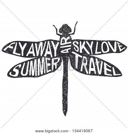 Summer dragonfly vector illustration Fly Away Summer Air Sky Love Travel lettering poster.