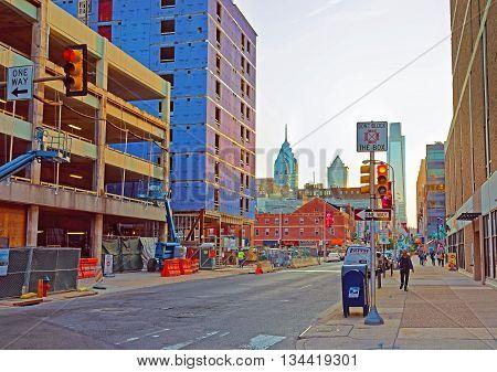 Sunset In The City Center Of Philadelphia
