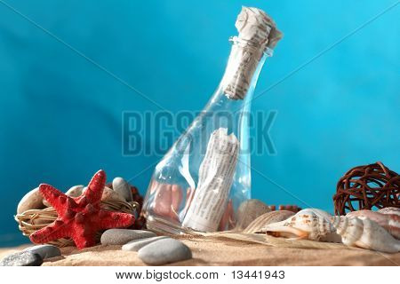 Sea still-life the message in a bottle