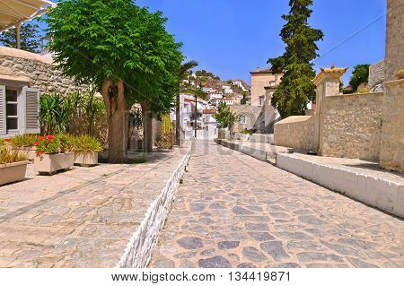 traditional houses and road without cars at Hydra island Greece