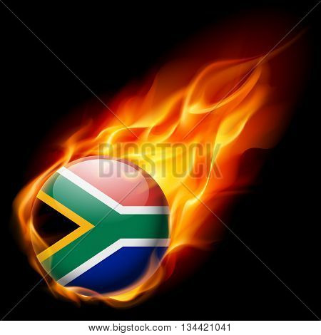 Flag of South Africa as round glossy icon burning in flame