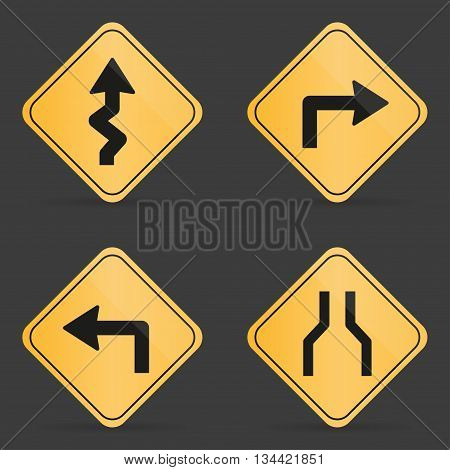 Set of orange road sign on a black background