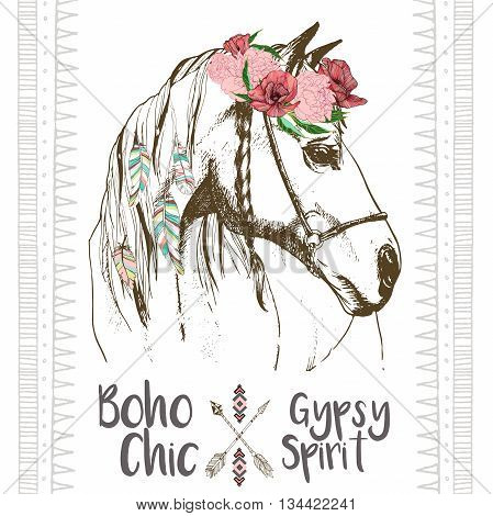 Vector fashion boho chick style horse with flower feather wreath and arrow. Traditional bohemian deoration. Use for poster party fashion events promotion shop store design.