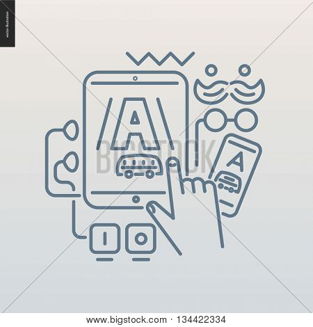 App development outlined icon - contemporary flat vector icon of mobile application development for design studio website - various devices with one application screenshot on a screen