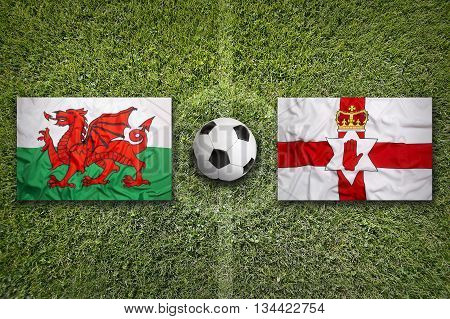 Wales Vs. Northern Ireland Flags On Soccer Field