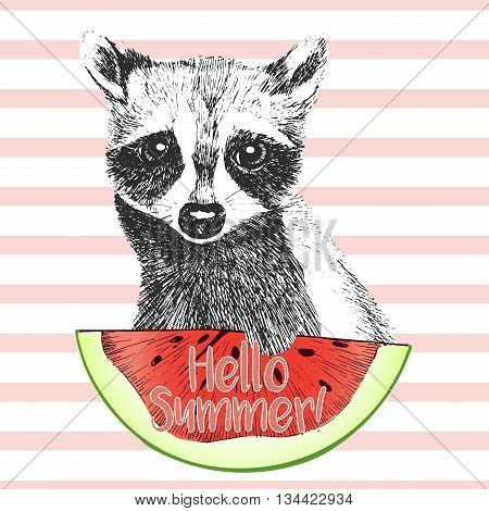 Vector hand drawn illustration of raccoon eating the watermelon slice. Hello summer. Isolated on light green strips. fresh fashion vibrant summer poster.