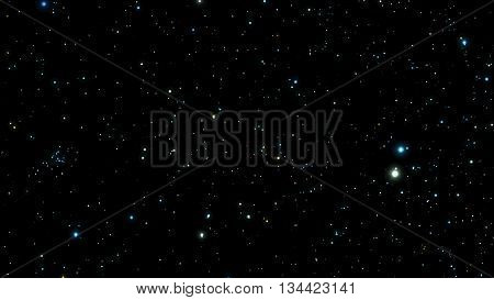 Black Night sky with bright stars. Constellation. Vector illustration.