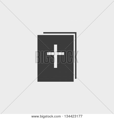 Bible icon in a flat design in black color. Vector illustration eps10