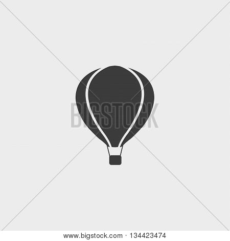 Hot air balloon icon in a flat design in black color. Vector illustration eps10