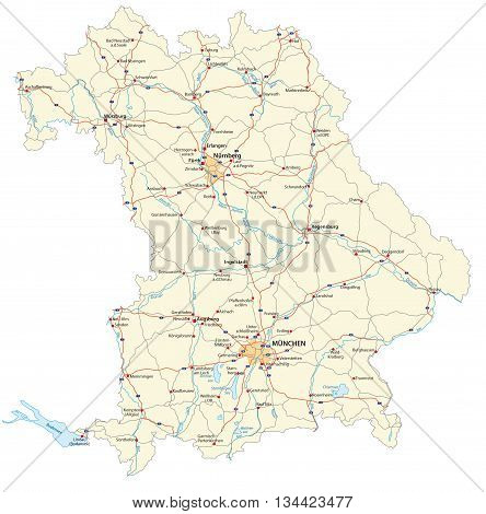 vector road map of the German federal country bavaria