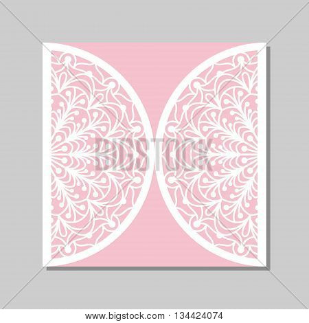 Wedding invitation or greeting card with mandala lace ornament. Die cut paper lace envelope template for laser cutting. Vector illustration.