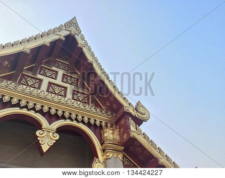 Town hall art structure crimson wood and gold decoration