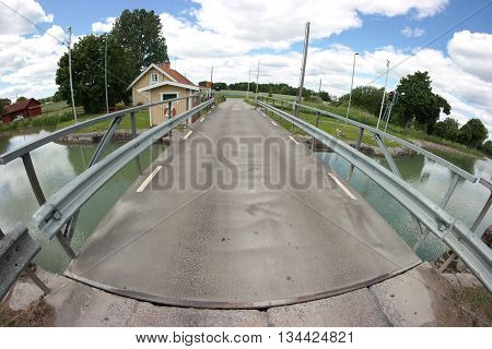 Fish-eye photo of Göta Canal and its surroundings in Sweden.