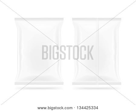 Blank white snack bag mock up front and back side isolated 3d illustration. Clear white chips pack mockup. Cookie candy sugar cracker nuts jujube supermarket foil plastic frozen container packet.