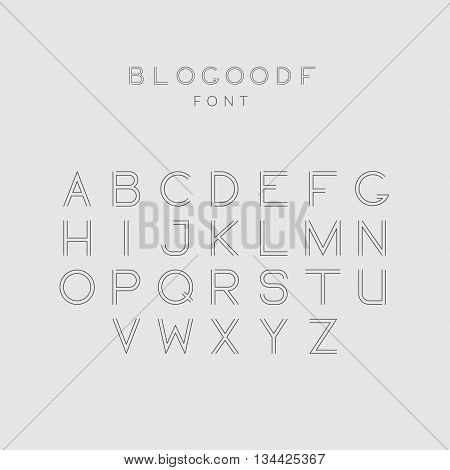 Latin geometric modern minimal mono line decorative font of outline letters. Minimalistic alphabet with thin lines. Vector Illustration