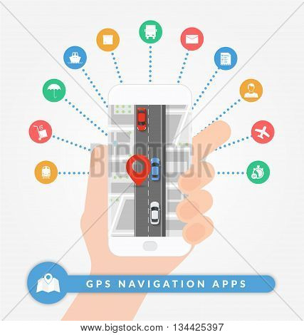 GPS navigation apps on mobile phone. Road navigation concept with city map pin and road with cars. Flat vector illustration. Set of logistic and shipping icons