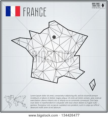 France map in geometric polygonal style. Polygonal abstract world map. Vector illustration. France flag. Paris pointer