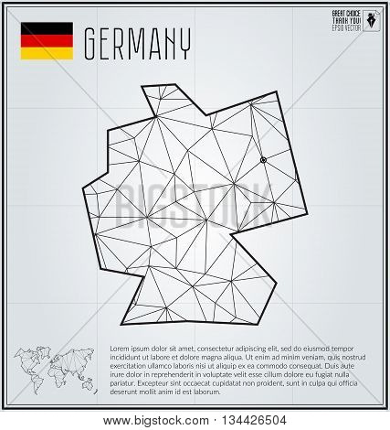 Germany map in geometric polygonal style. Polygonal abstract world map. Vector illustration. Germany flag. Berlin pointer.